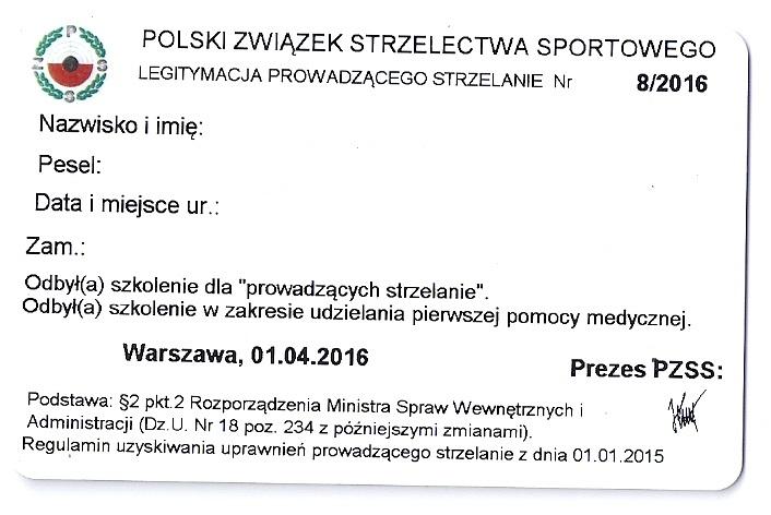 Legitymacja prowadzącego strzelanie - Strzelnica Colt Łódź