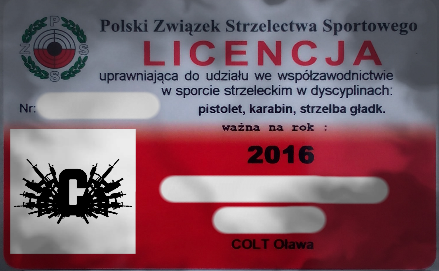 Licencja PZSS - Strzelnica Colt Łódź